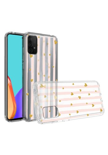 KASEAULT | Transparent ShockProof Hearts and Stripes Design Case for Galaxy A52 5G