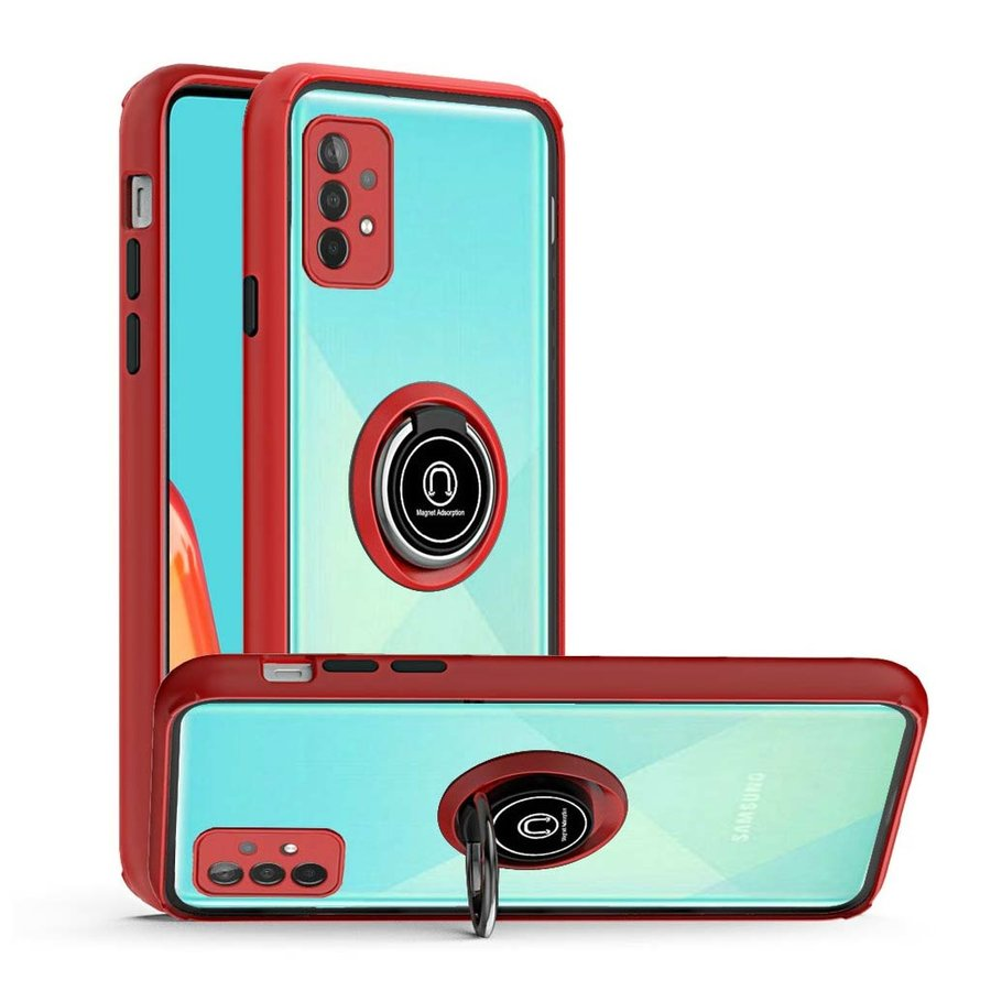 Transparent Hybrid MagRing Case with Camera Cover for Galaxy A52 5G