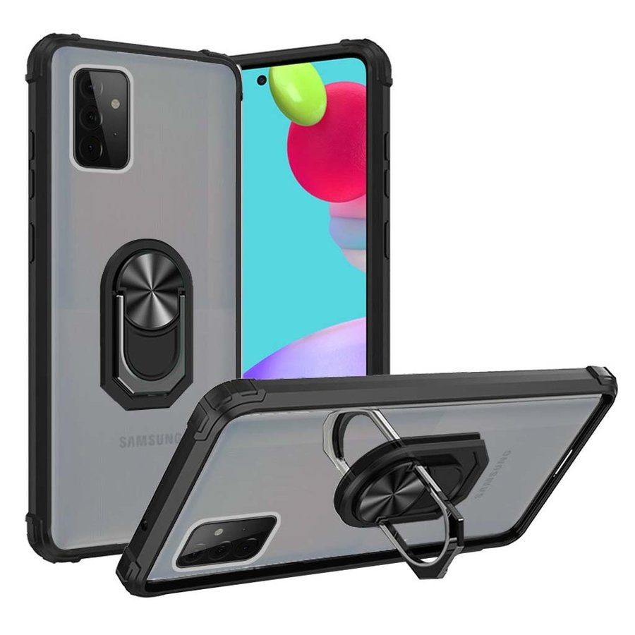 Hybrid Shockproof Clear Transparent Case with 360 Magnetic Ring Stand for Galaxy A52 5G
