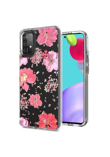 Transparent Flowers Print Design Case for Galaxy A52 5G
