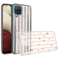 KASEAULT | Transparent ShockProof Hearts and Stripes Design Case for Galaxy A12