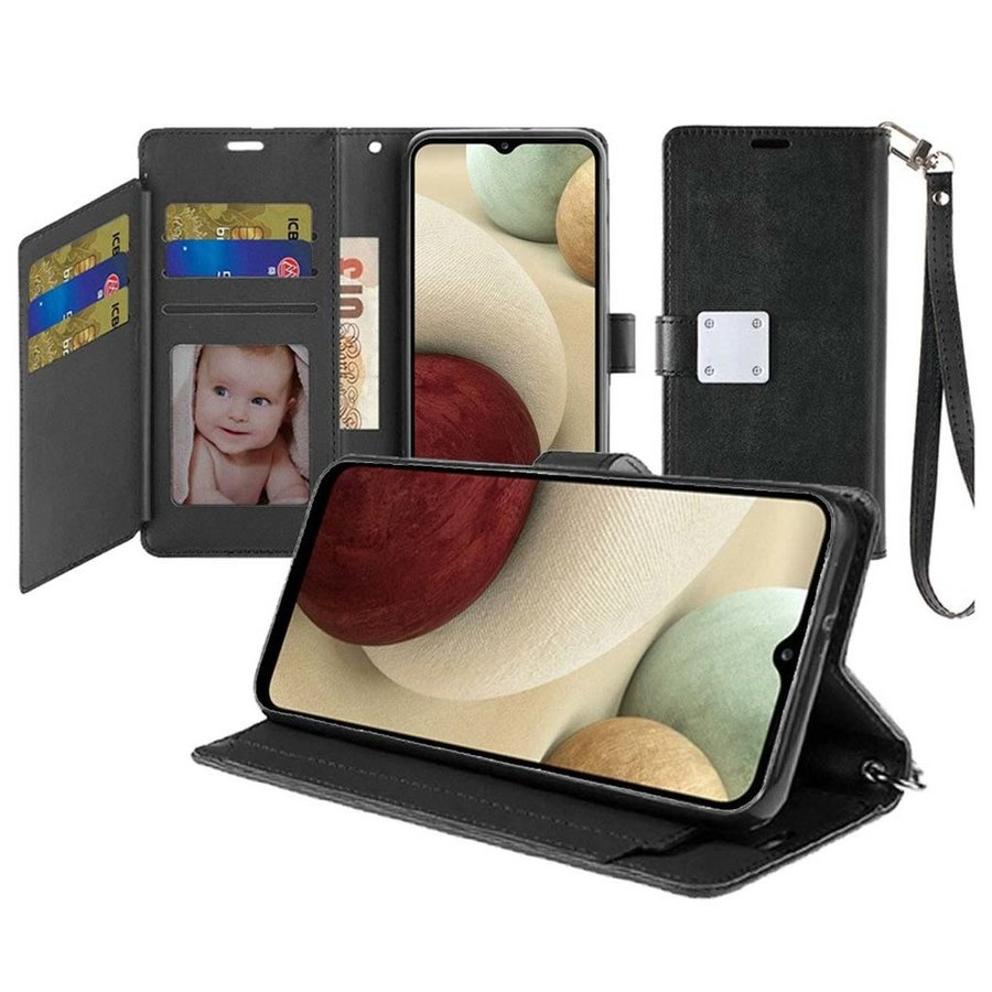 Hybrid PU Leather Metallic Flip Cover Wallet Case with Credit Card Slots for Galaxy A12