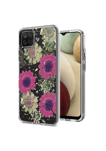 Transparent Pink Daisy Design Case for Galaxy A12