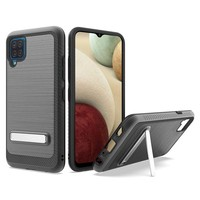 Metallic PC TPU Brushed Case Carbon Fiber Edge with Kickstand for Galaxy A12