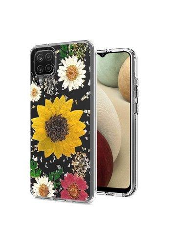 Transparent Sun Flower Print Design Case for Galaxy A12