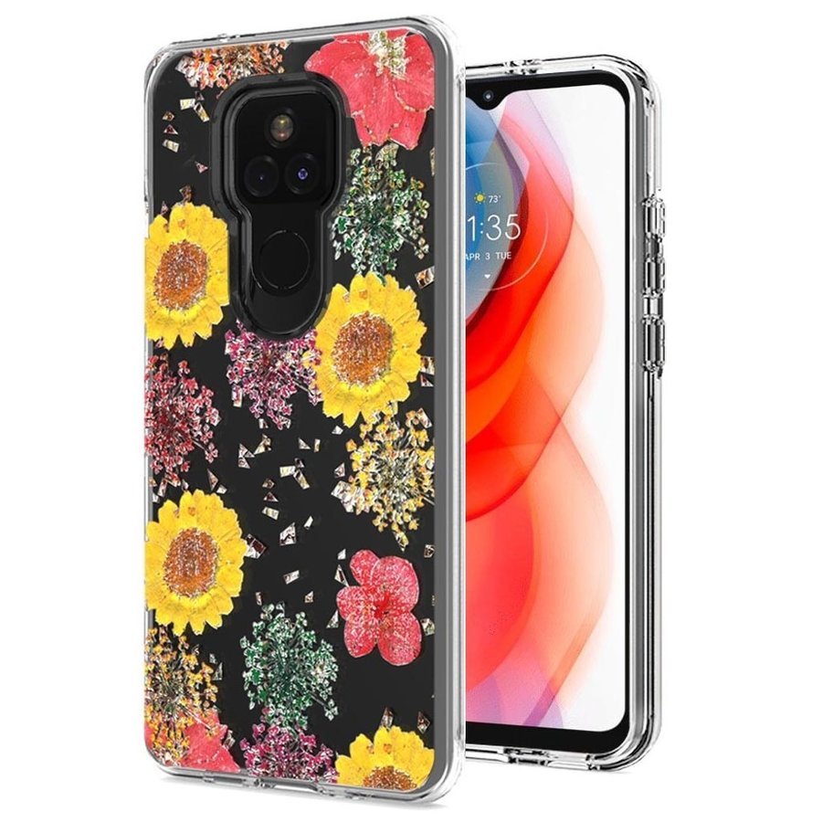 Transparent Botanic Flowers Design Case for Motorola Moto G Play (2021)
