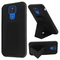 Premium PC TPU Foldable Magnetic Kickstand Case for Motorola Moto G Play (2021)