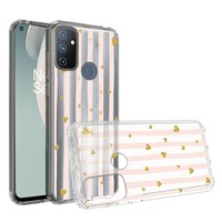 KASEAULT | Transparent ShockProof Hearts and Stripes Design Case for OnePlus Nord N100