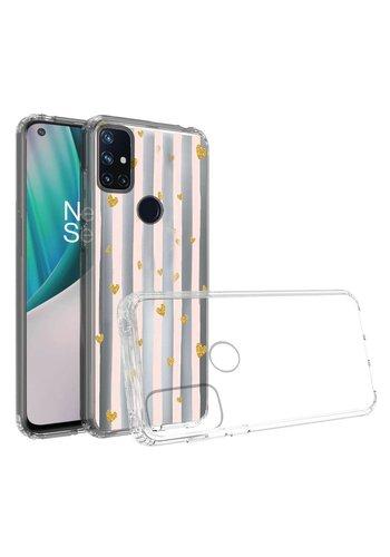 KASEAULT | Transparent ShockProof Hearts and Stripes Design Case for OnePlus Nord N10 5G