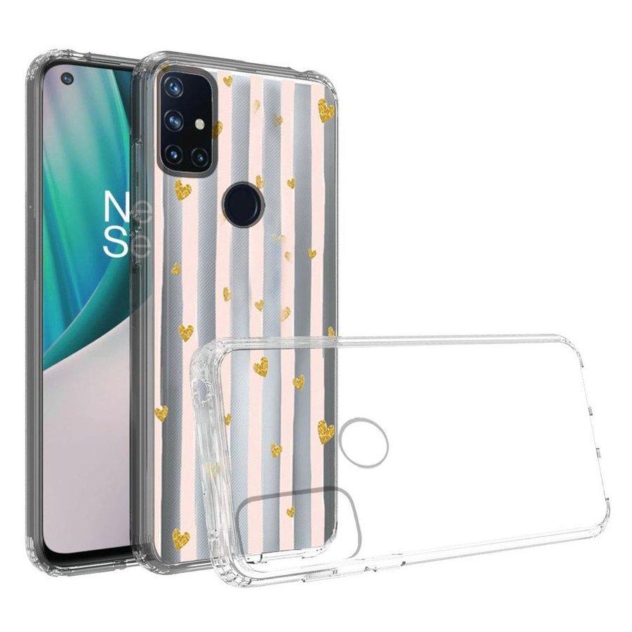 KASEAULT   Transparent ShockProof Hearts and Stripes Design Case for OnePlus Nord N10 5G