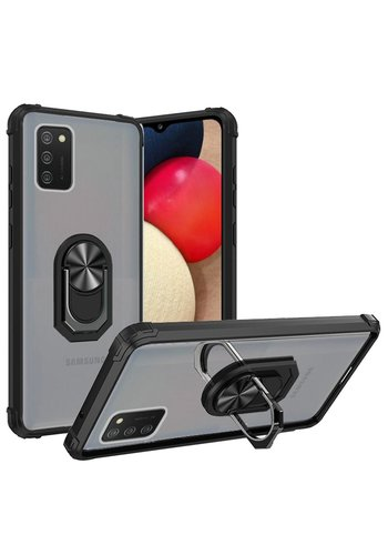 Transparent Hybrid MagRing Case with Camera Cover for Galaxy A02s