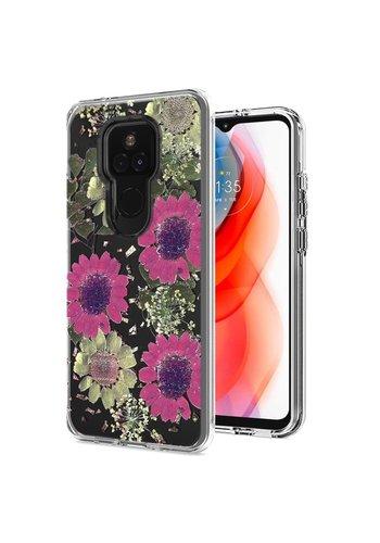 Transparent Pink Daisy Design Case for Motorola Moto G Play (2021)