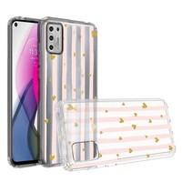 KASEAULT | Transparent ShockProof Hearts and Stripes Design Case for Motorola Moto G Stylus (2021)
