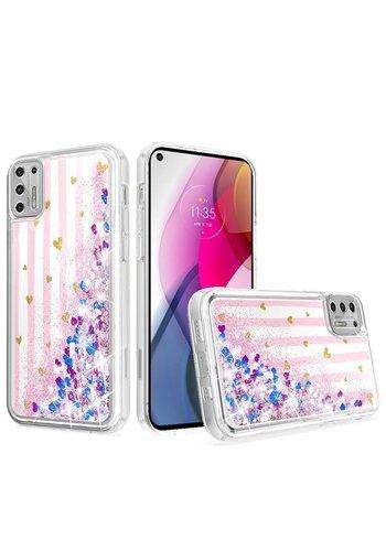 KASEAULT | Liquid Quicksand Glitter Pink Love Stripes Design Case for Motorola Moto G Stylus (2021)