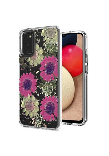 Transparent Pink Daisy Design Case for Galaxy A02s