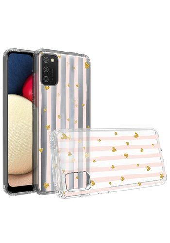 KASEAULT | Transparent ShockProof Hearts and Stripes Design Case for Galaxy A02s