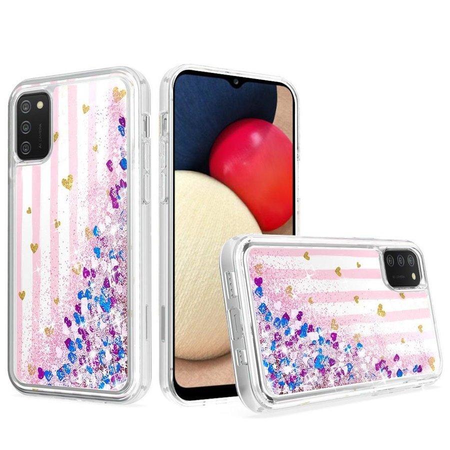 KASEAULT | Liquid Quicksand Glitter Pink Love Stripes Design Case for Galaxy A02s