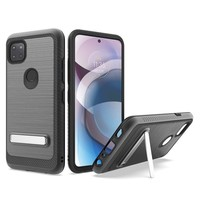 Metallic PC TPU Brushed Case Carbon Fiber Edge with Kickstand for Motorola Moto One 5G Ace