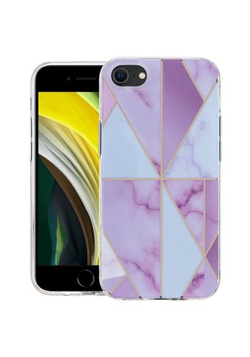 KASEAULT | Hard TPU  Electroplated Luxury Purple Marble Design Case for iPhone SE (2020) / 8 / 7