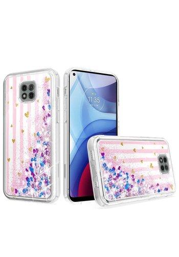 KASEAULT | Liquid Quicksand Glitter Pink Love Stripes Design Case for Motorola Moto G Power (2021)