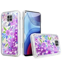 KASEAULT | Liquid Quicksand Glitter Colorful Flower Arrangement Design Case for Motorola Moto G Power (2021)