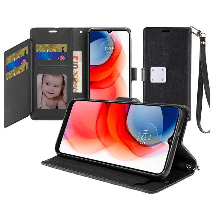 Hybrid PU Leather Metallic Flip Cover Wallet Case with Credit Card Slots for Motorola Moto G Play (2021)