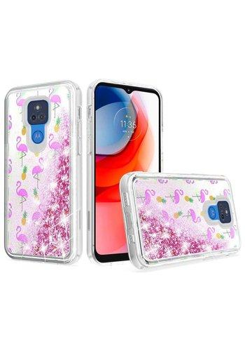 KASEAULT   Liquid Quicksand Glitter Flamingo Pineapple Leaf Design Case for Motorola Moto G Play (2021)