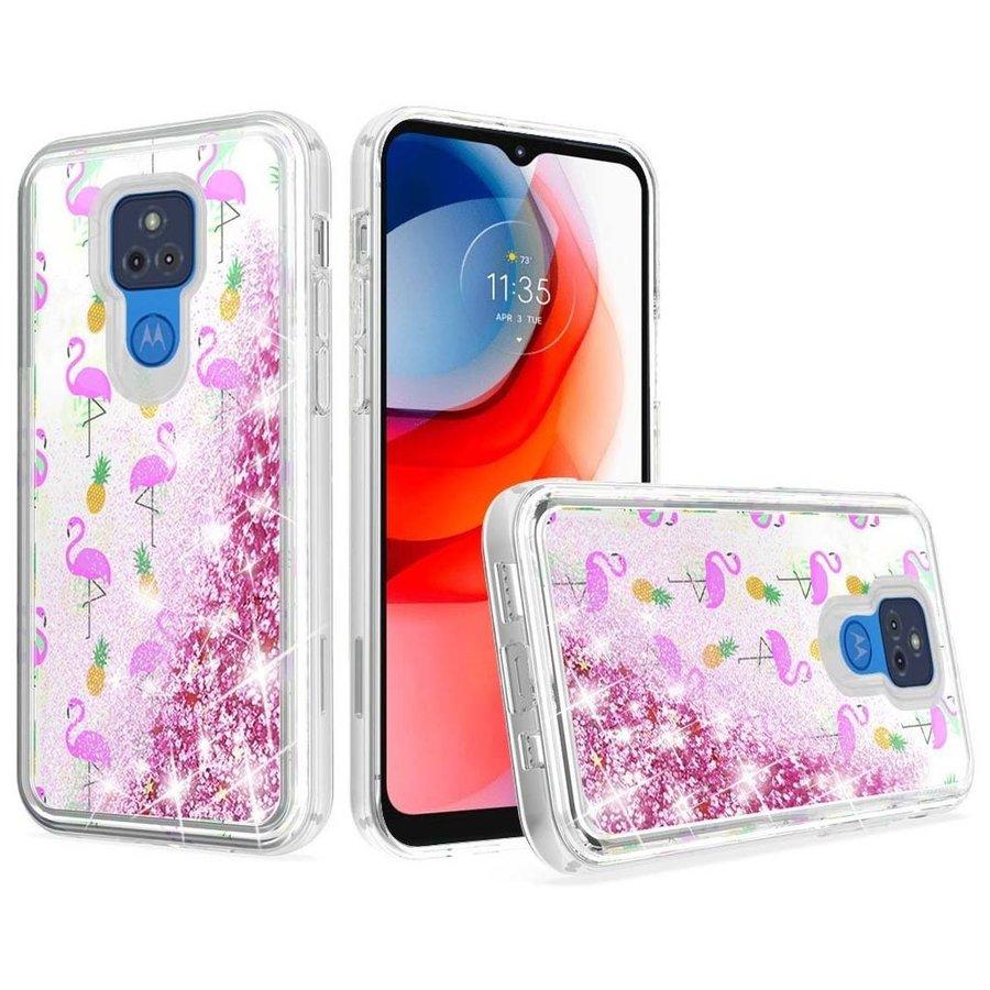 KASEAULT | Liquid Quicksand Glitter Flamingo Pineapple Leaf Design Case for Motorola Moto G Play (2021)