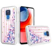 KASEAULT | Liquid Quicksand Glitter Pink Love Stripes Design Case for Motorola Moto G Play (2021)
