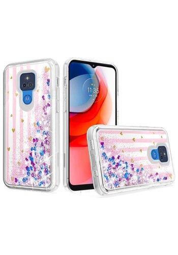 KASEAULT   Liquid Quicksand Glitter Pink Love Stripes Design Case for Motorola Moto G Play (2021)