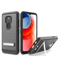 Metallic PC TPU Brushed Case Carbon Fiber Edge with Kickstand for Motorola Moto G Play (2021)