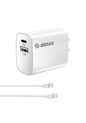 ESOULK | Dual Port USB C & USB Home Charger with 3ft Type C to Type C Cable