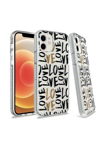 KASEAULT | Transparent Bumper Love In Gold Design Case for iPhone 12 / 12 Pro