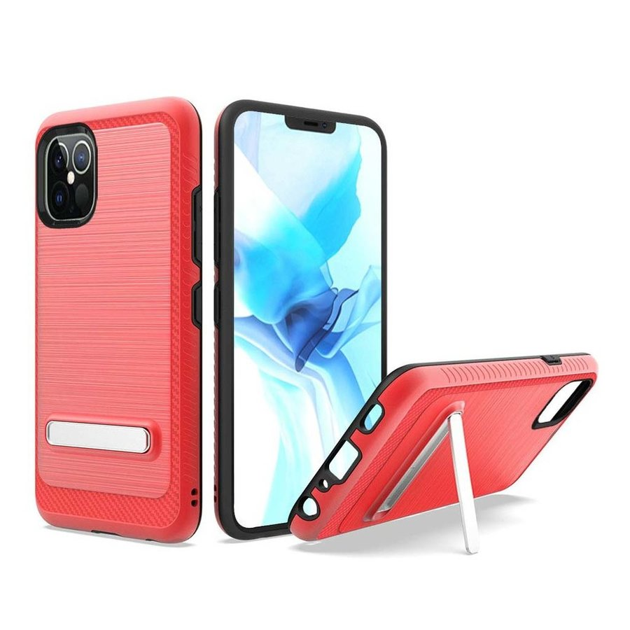 Metallic PC TPU Brushed Case Carbon Fiber Edge with Kickstand for iPhone 12 Pro Max
