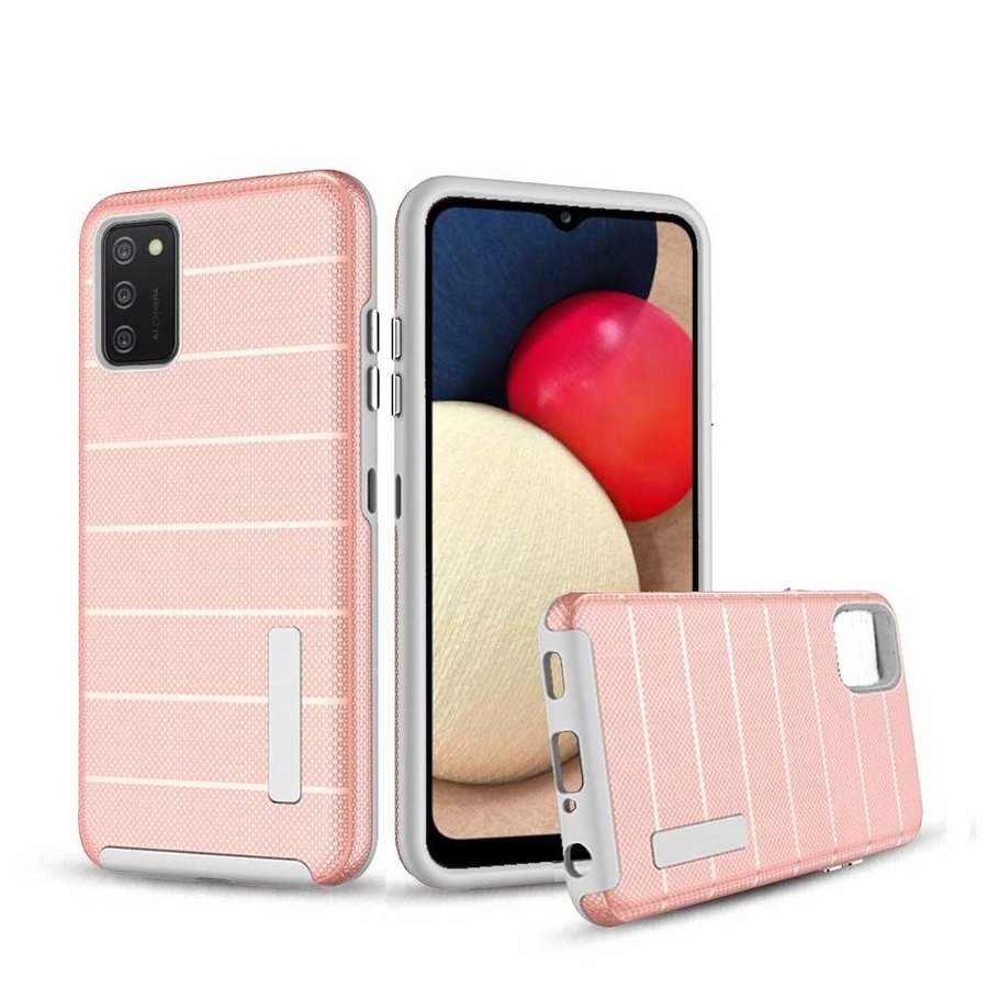 PC TPU Shock Proof Hybrid Case with Stripes Design for Galaxy A02s