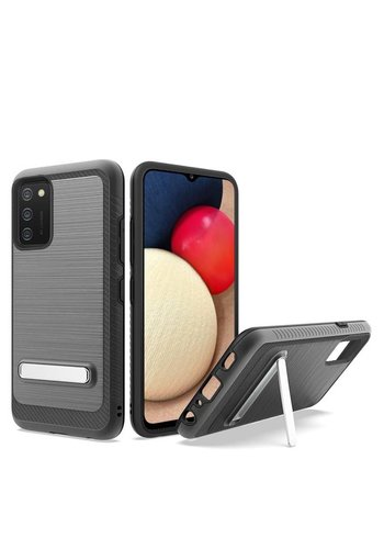 Metallic PC TPU Brushed Case Carbon Fiber Edge with Kickstand for Galaxy A02s