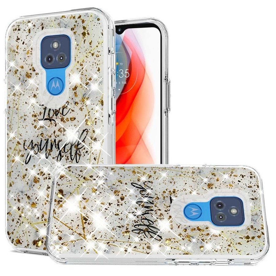 Magnificent Love Yourself Glitter Design Case for Motorola Moto G Play (2021)