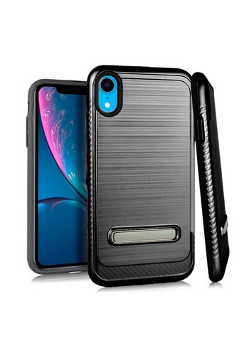 Metallic PC TPU Brushed Case Carbon Fiber Edge with Kickstand for iPhone XR