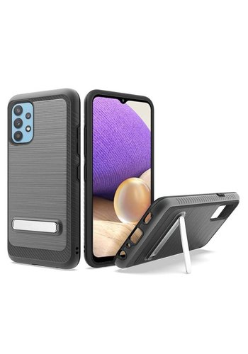 Metallic PC TPU Brushed Case Carbon Fiber Edge with Kickstand for Galaxy A32 5G
