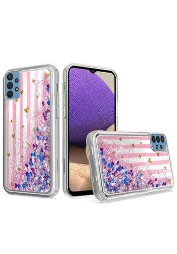 KASEAULT | Liquid Quicksand Glitter Pink Love Stripes Design Case for Galaxy A32 5G