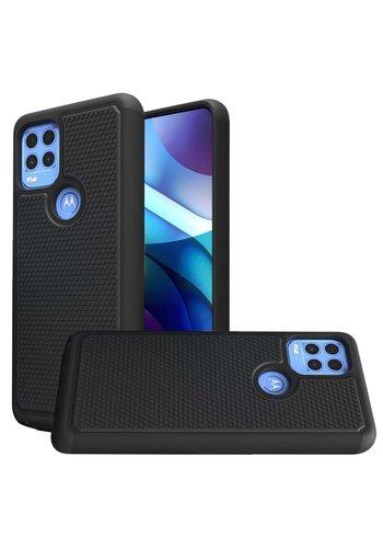 Textured Black PC+Black TPU Hybrid Case for Motorola Moto G Stylus (2021) 5G*