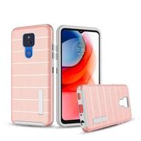 PC TPU Shock Proof Hybrid case with Stripes Design for Motorola Moto G Play (2021)