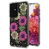 Transparent Pink Daisy Design Case for Galaxy S21 Ultra