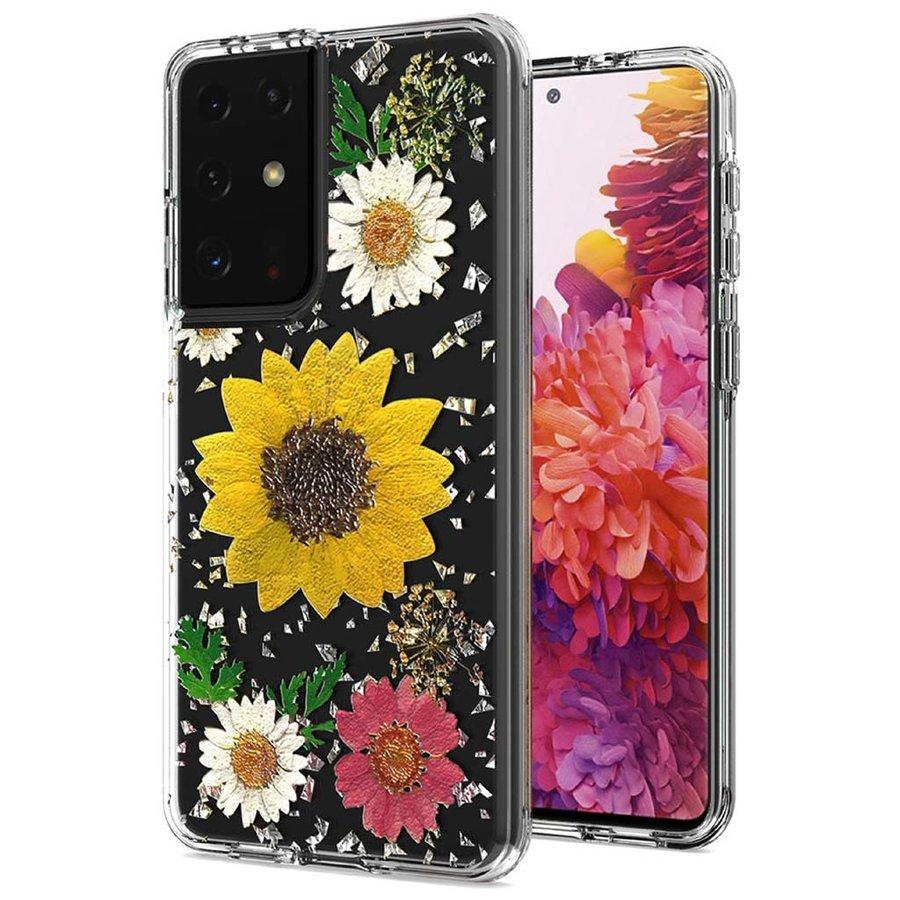 Transparent Sun Flower Print Design Case for Galaxy S21 Ultra