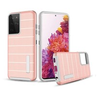PC TPU Shock Proof Hybrid Case with Stripes Design for Galaxy S21 Ultra