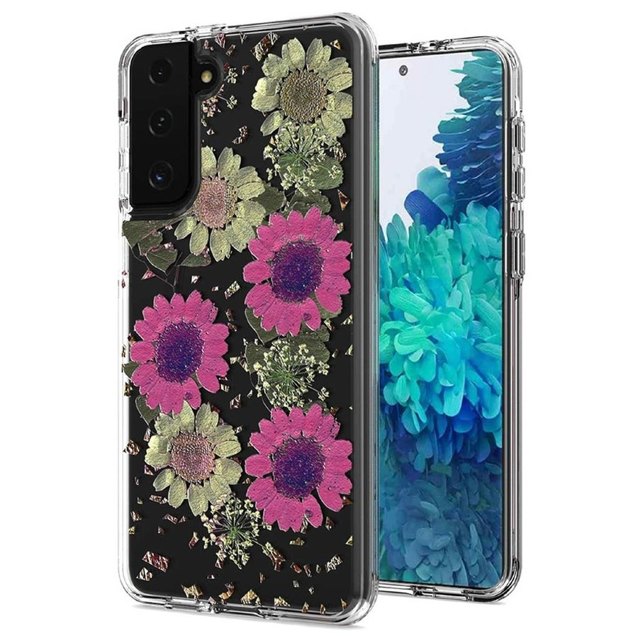Transparent Pink Daisy Design Case for Galaxy S21