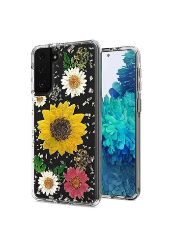 Transparent Sun Flower Print Design Case for Galaxy S21
