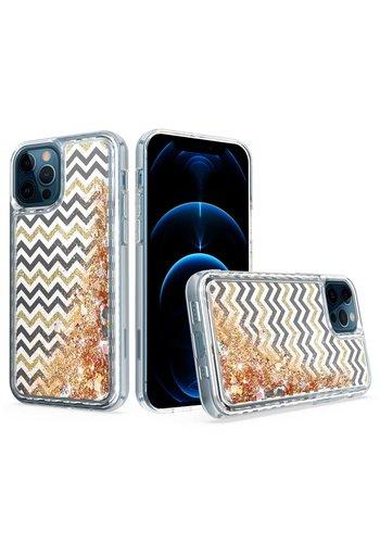 KASEAULT | Liquid Quicksand Glitter ZigZag Design Case for iPhone 11
