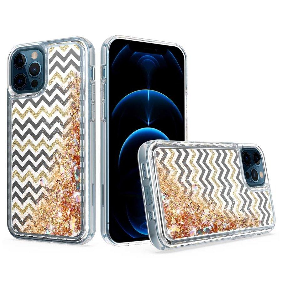 KASEAULT   Liquid Quicksand Glitter ZigZag Design Case for iPhone 11
