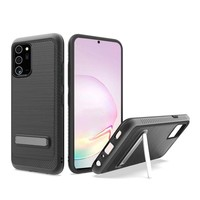 Metallic PC TPU Brushed Case Carbon Fiber Edge with Kickstand for Galaxy Note 20 Ultra